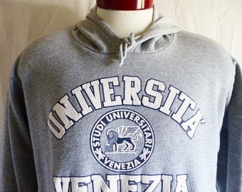 vintage 90's Universita Venezia University Venice heather grey fleece white puffy print crest graphic hoodie sweatshirt pullover jumper larg
