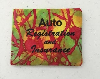 Embroidered Red, Yellow and Green Auto Registration/Insurance Card Holder