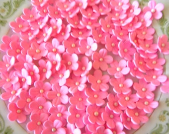 Hot Pink Blossoms / Edible Cake Topper and Cupcake Decorations