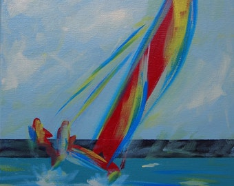Acrylic Painting on Stretched Canvas: Hobiecat Sailboat