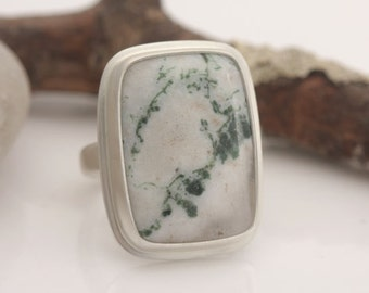 Tree agate and sterling silver ring, size 8 3/4, #609.