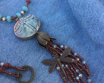 Long beaded dragonfly necklace