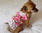Harness Vest Small Dog Yellow, Pink, Red, Sage Green & White Rose Print - Made to Order, Customize to Fit Toy or Teacup Size