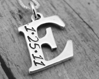 Birthdate Initial Necklace, Sterling Silver Initial Necklace, Custom Initial Necklace, Initial Date Necklace, Personalized Mother Necklace