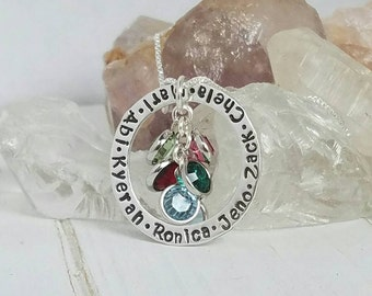 "Mom, Grandma, Nana Solid Sterling Silver Personalized Custom Made Hand Stamped 7, Seven Name Necklace on 1"" Washer with Birthstones"