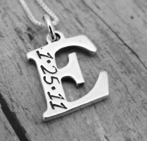 Initial Letter Necklace, Sterling Silver, Custom Initial Necklace, Initial date necklace, Personalized Mother Necklace, letter and birthdate