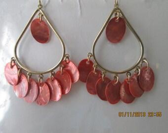 Gold Tone Teardrop Hoop Earrings with Carol/Orange Shell Disc Dangles