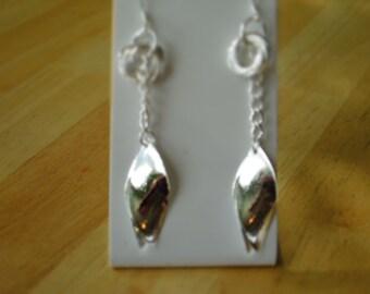 Silver Tone Dangle Chain Earrings