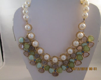 White Pearl Necklace with Pale Pink and Green Pendants