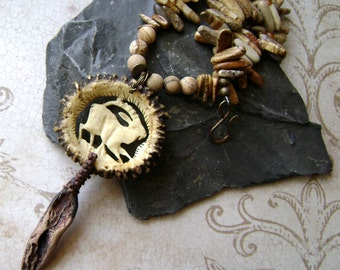 The Prancing Mountain Goat, carved antler pendant, assemblage jewelry, rustic organic jewelry, carved bone, animal pendant, AnvilArtifacts