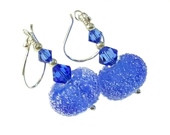 Sugar frosted Sapphire blue lampwork earrings, topped with sapphire Swarovski crystals, Sterling silver