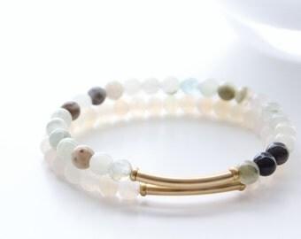 14kt Gold Filled Tube Gemstones Beaded Stackable Bracelets