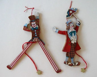 """SALE, Pair of vintage Pull String Patriotic Clowns, lot of articulated toys, Circus clown, 9"""" tall,  stars and stripes, Uncle Sam, gift idea"""