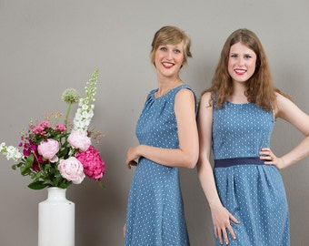 "Sleeveless Summerdress ""Lotta"", in jeans blue with dots"