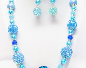 Chunky Atmospheric Blue Acrylic w/Turquoise Glass Bead Necklace & Earrings