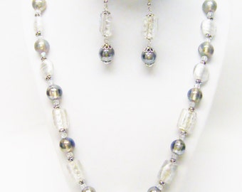 Chunky Silver & Grey Foil Lined Glass Bead Necklace/Earrings Set