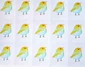 Whimsical Bird Planner Stickers, Spring Stickers Mini Stickers Cute Yellow Green Bird 24 Sticker Sheet