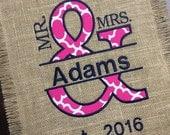 Quadrefoil Garden Flag - Hot Pink Flag - Personalized Burlap Yard Flag - Garden Flag - Jute Yard Flag - Pink Yard Flag - Hot Pink Garden Fla