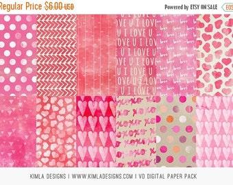 ON SALE Digital Paper Packs Valentine's Day 12x12in, jpg