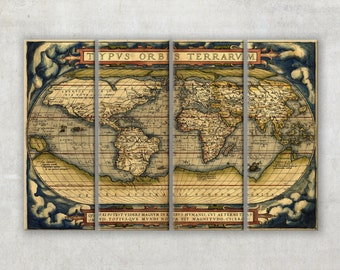 Old world map, Large canvas art , ready to hang interior wall decor on 4 panels, 014