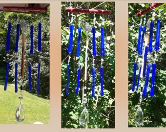 Blue Glass Windchime, Fused Glass Wind Chime, Bamboo Chimes, Garden Decor, Stained Glass Window, Suncatcher Mobile