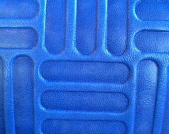 Royal Blue Box Stripe, Lambskin     (B)