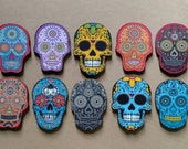 Set of 10 Laser Cut Wood Day of the Dead Sugar Skulls Mexican folk art Dia de los Muertes