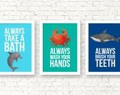 Sea animals bathroom rules, shark crab dolphin bathroom prints, kids bathroom decor, kids bathroom rules, kids decor, kids posters, G-3060