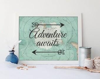 Nautical map wall art, nautical nursery baby decor, adventure awaits poster, adventure waits art print, vintage map art print, A-1213