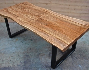 Live edge Maple Coffee Table with Steel Base