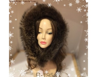 R-195 Genuine Brown Black raccoon fur Ruff Trim for Jacket Hood 32""