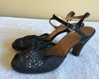 40s Kimmel Navy Blue Lace Peep Toe Sandals