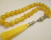 Amber Pressed Islamic Prayer Beads 58.63 Gr White Cream Color Handmade #248