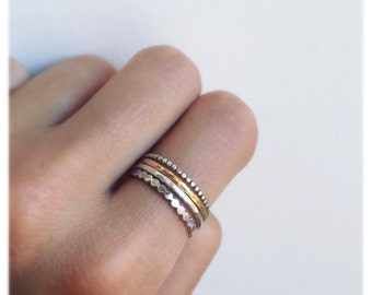 Gold and silver skinny ring set- stacking ring set- 4 ring set-hammered gold ring set- skinny ring set
