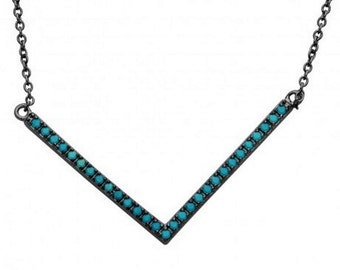 Sterling Silver Black Rhodium Wide V Shape Turquoise Encrusted Necklace #8