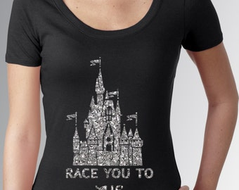 GLITTER * Race You to the Castle * Black * Fitted Scoop Neck Cap Sleeve Shirt * Jersey Top * Running * RunDisney * Run Disney *
