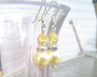 SALE Yellow Pearl Earrings - Sunny Citrine Yellow Earrings - Silver Pearl Earrings - Wedding Yellow Bridesmaids Gift - November Birthstone