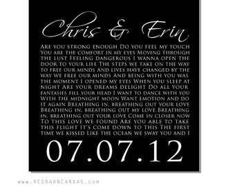 For the New Couple, Any song on Canvas, Open My Eyes,  song Lyrics on Canvas, Wedding Gift, Anniversary, Personalized Word Art