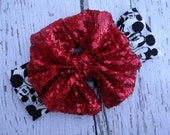 Mouse Sparkle red bow Head wrap- Girl Turban-Baby Boho headband- red Bow - mouse Headband- red Head wrap