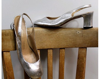 60s french silver leather slingback us7.5 fr39