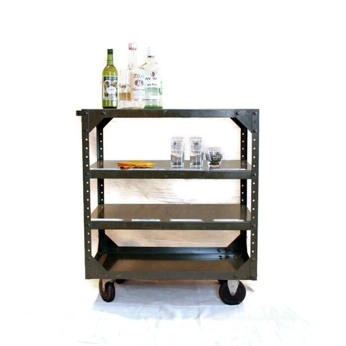 Vintage Metal Cart: RESERVED For ANDREA Vintage Industrial Rolling Metal Cart