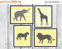 ONSALE Jungle Nursery Prints  - 4 Print Set -  Nursery Decor -  Custom Colors -  Gray Yellow Nursery Decor