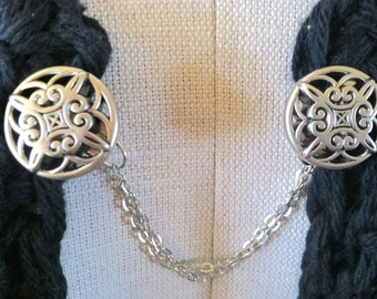 The mattie  silver tone Celtic inspired sweater clip.