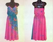 Floral Print Dress, Size 5, Misses Vintage Dress, Spaghetti Strap Dress, Long Dress, Ladies' Vintage Dress, Bright Colors, Sun Dress