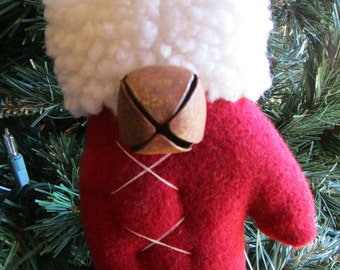 Wool Santa Mitten Ornament, White Stitching