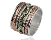 Handmade Bohemian Boho Solid 925 Sterling Silver Copper Brass Tri Color Spinner Band Ring Size 8 :1119