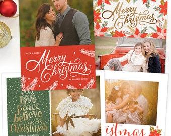 Christmas Card Templates for Photographers, Christmas Photo Card Template for Photoshop, Holiday Card Template Photography Templates HC30103