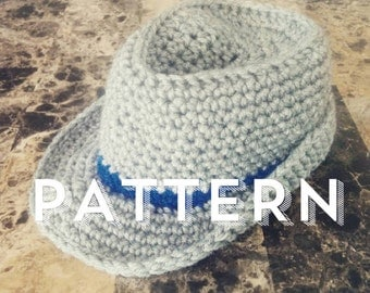 Instant Download, Crochet Fedora pattern 0-6 months