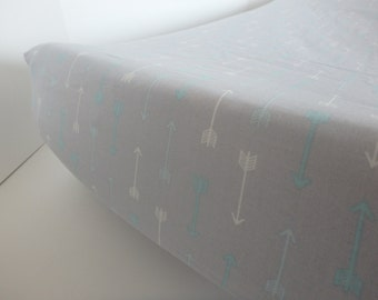 Gray with Aqua and White Arrow Changing Pad Cover