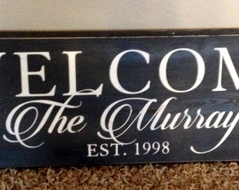 Welcome family name established sign in black and white 7 x 24""